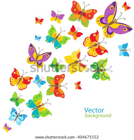 Cartoon Style Butterfly Background Colorful Butterflies Stock Vector