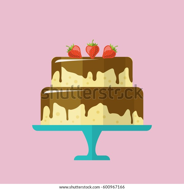 Cartoon style cake with strawberries and chocolate icing. Vector illustration.