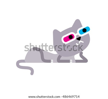 95149a5f729 Royalty-free stock vector images ID  486469714. Cartoon style cat wearing  stereo 3d glasses. Vector illustration. - Vector