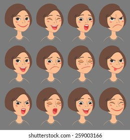 Cartoon Style Caucasian Girl's Faces. Vector Set of Different Emotions Icons. Isolated on background