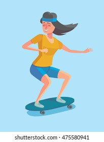Cartoon style character of hipster concept. Freedom young girl, longboard rider. Vector illustration in flat design.