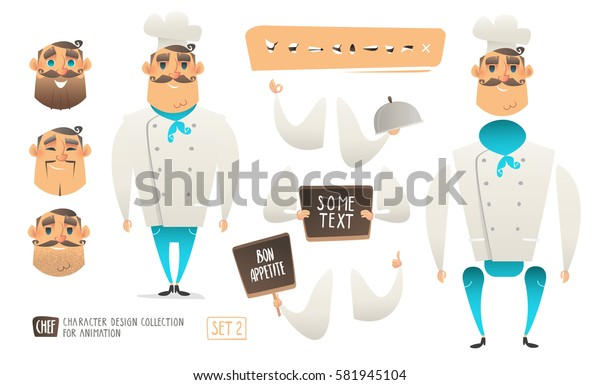 Cartoon Style Chef character for animation and scenes design. Cartoon Cook holding sign with space for text. International cuisine. Set of faces and character speaks animations. Isolated vector