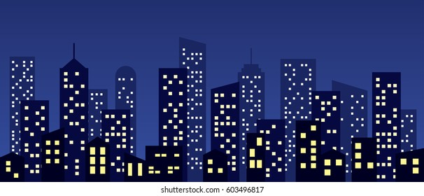 Cartoon style city buildings, vector background.