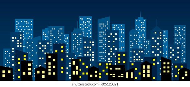 Cartoon style city buildings, vector background.