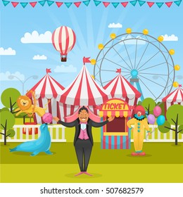 Cartoon style composition with amusement park and circus artists with tents and flying air balloon vector illustration