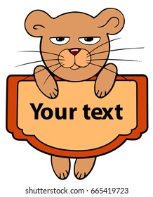 cartoon style cute little animal mouse hanging with a text sign