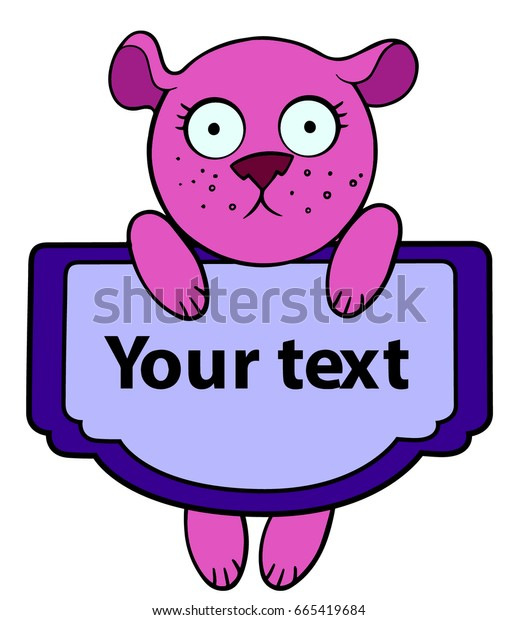 cartoon style cute little animal pink bear hanging with a text sign
