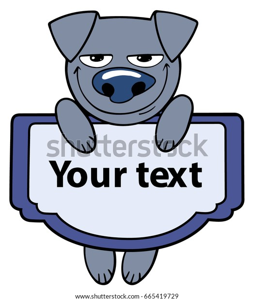 cartoon style cute little animal blue dog hanging with a text sign
