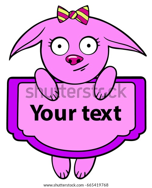 cartoon style cute little animal pink fox hanging with a text sign
