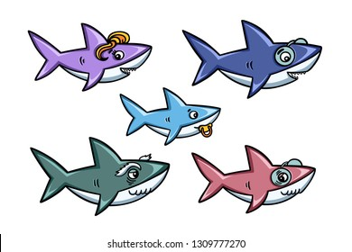 Cartoon style cute sharks family set. Baby mommy daddy grandpa grandma shark collection. Colorful hand drawn design elements for kids clothes prints. Vector illustration.