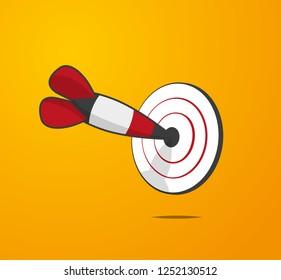 Cartoon style dart hit the center of dartboard illustration vector background.