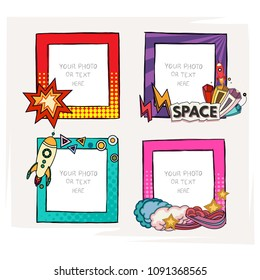 Cartoon style. Decorative vector template frame. photo frames for kids picture or or funny photos. Scrapbook design concept. Insert your picture.