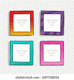 cartoon style. Decorative vector template frame. These photo frames you can use for kids picture or funny photos. Scrapbook design concept. Insert your picture.