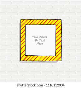Cartoon style. Decorative vector template frame. This photo frame you can use for kids picture or or funny photos. Scrapbook design concept. Insert your picture.