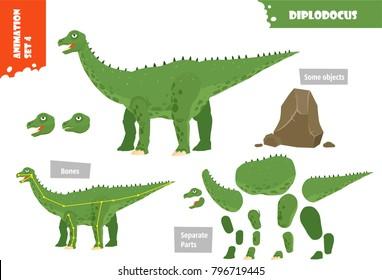 Cartoon Style Dinosaur Diplodocus Character For Animation Set. Vector Illustration