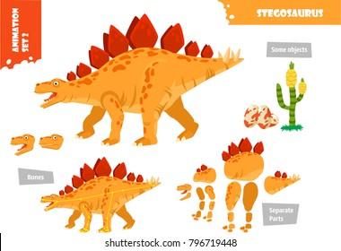 Cartoon Style Dinosaur Stegosaurus Character For Animation Set. Vector Illustration
