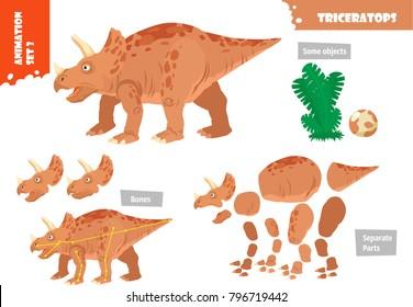 Cartoon Style Dinosaur Triceratops Character For Animation Set. Vector Illustration