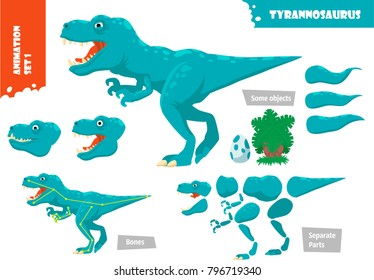 Cartoon Style Dinosaur Tyrannosaurus Character For Animation Set. Vector Illustration