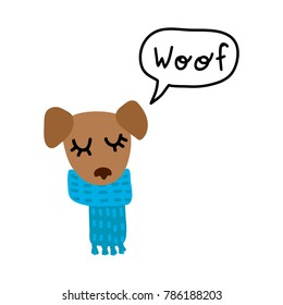 Cartoon Style Dog in a Blue Scarf Saying Woof Vector Illustration