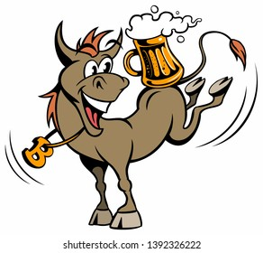 Cartoon style donkey, cartoon animal character with the beer mug, isolated on white background.