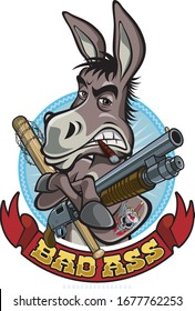 cartoon style donkey holding gun and bat
