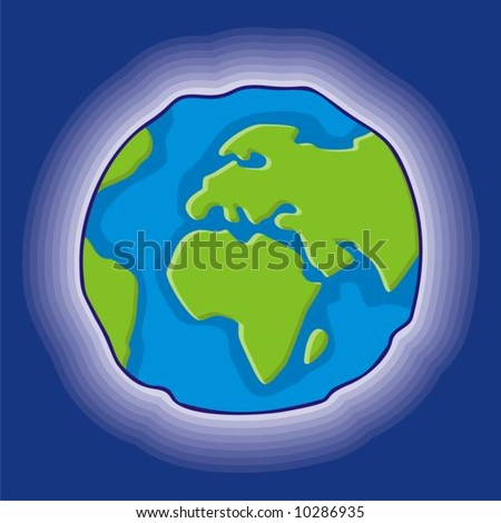 cartoon style earth globe icon