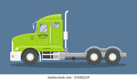 Cartoon style flat illustration of a semi truck side view. EPS10 vector scalable image of a heavy freighter truck.