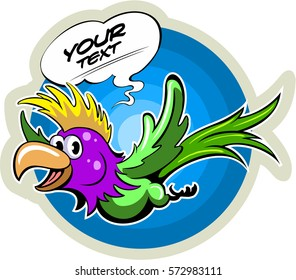 Cartoon style flying parrot, with the comics text box, vector bird.