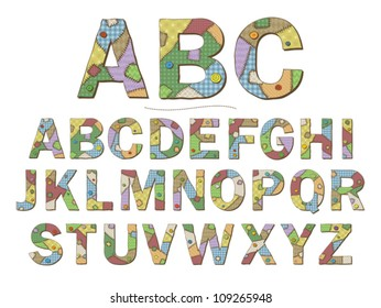 A cartoon style font depicting patchwork quilt letters. Eps 10 vector.