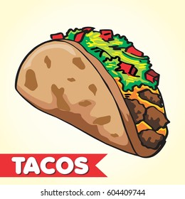 CARTOON STYLE FULL COLOR DOODLE TACOS