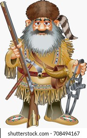 cartoon style fur hunter with musket and trap
