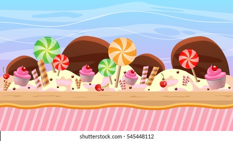 cartoon style game background in chocolate theme graphics, stage made and layered with candy, lollipop perfect for platform, runner and jumping game