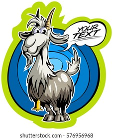 Cartoon style goat with the comics text box