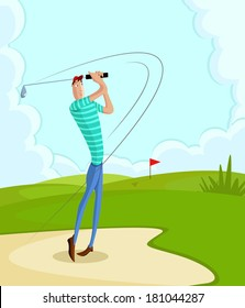 cartoon style golfer in vector hitting fairway shot