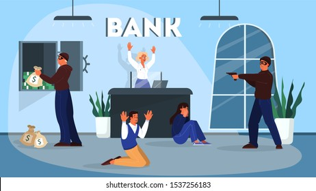 Cartoon style illustration of bank robbery. Bandit in mask steal money, holding gun and attack customer and employee.