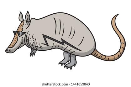 Cartoon style illustration of a cool armadillo wearing sunglasses - it has a lightning symbol tattoo on it's side.