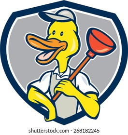 Cartoon style illustration of a duck plumber holding plunger on shoulder looking to the side set inside shield crest on isolated background.