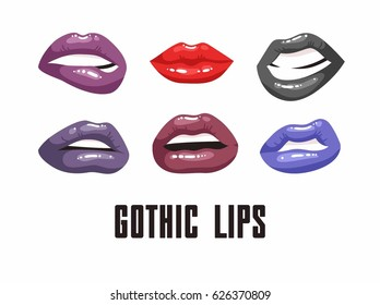 Cartoon style illustration gothic mouths. Set of erotic women's lips with dark lipstick. Hand drawn vector facial expression