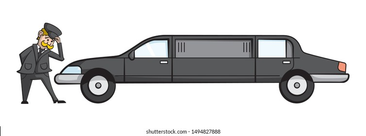 Cartoon style illustration of a limousine with the driver standing next to it, tipping his hat politely.