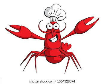 Cartoon style illustration of a lobster or crayfish character with a moustache. He is smiling and wearing a chef's hat. A friendly chef cartoon character.