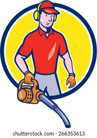 Cartoon style illustration of male gardener landscaper standing holding leaf blower   set inside circle.