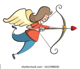 Cartoon style illustration of a normal woman cupid. A mom as a matchmaker.