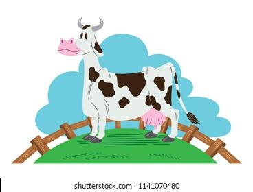 Cartoon style illustration of a smiling farm cow in a farmyard