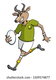 Cartoon style illustration of a springbok rugby player character running with a rugby ball in one hand while smiling.