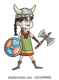 Cartoon style illustration of a viking girl with an axe and shield