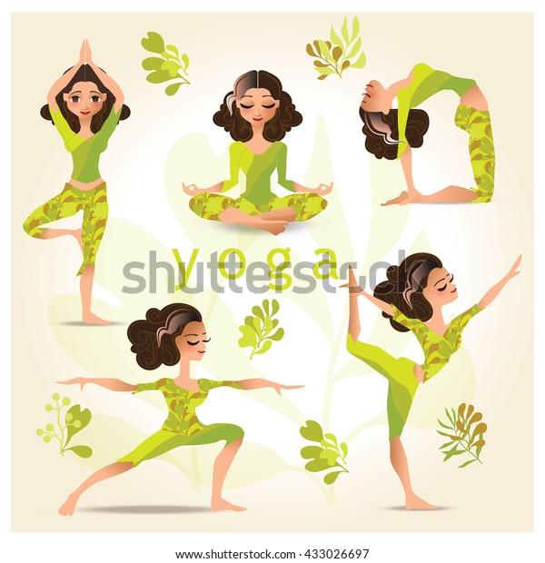 Cartoon Style Illustration Yoga Woman Yoga Stock Vector Royalty Free 433026697