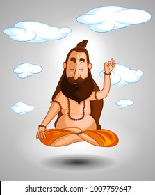 cartoon style Indian sadhu character illustration