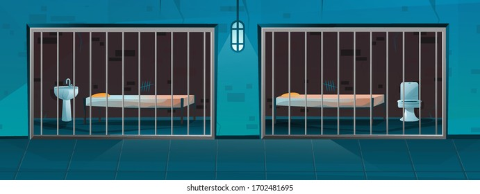Cartoon style Jail corridor with two single cells. One with a sink and bed, they other with bed and toilet.  Hallway prison cell interior with lattice.
