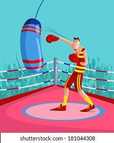 cartoon style Kick Boxer in vector