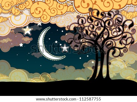 Cartoon style landscape with tree and moon